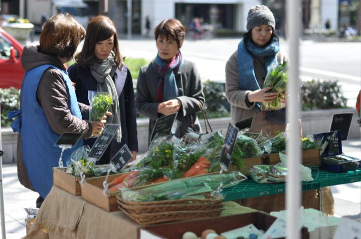 野菜を買う人達